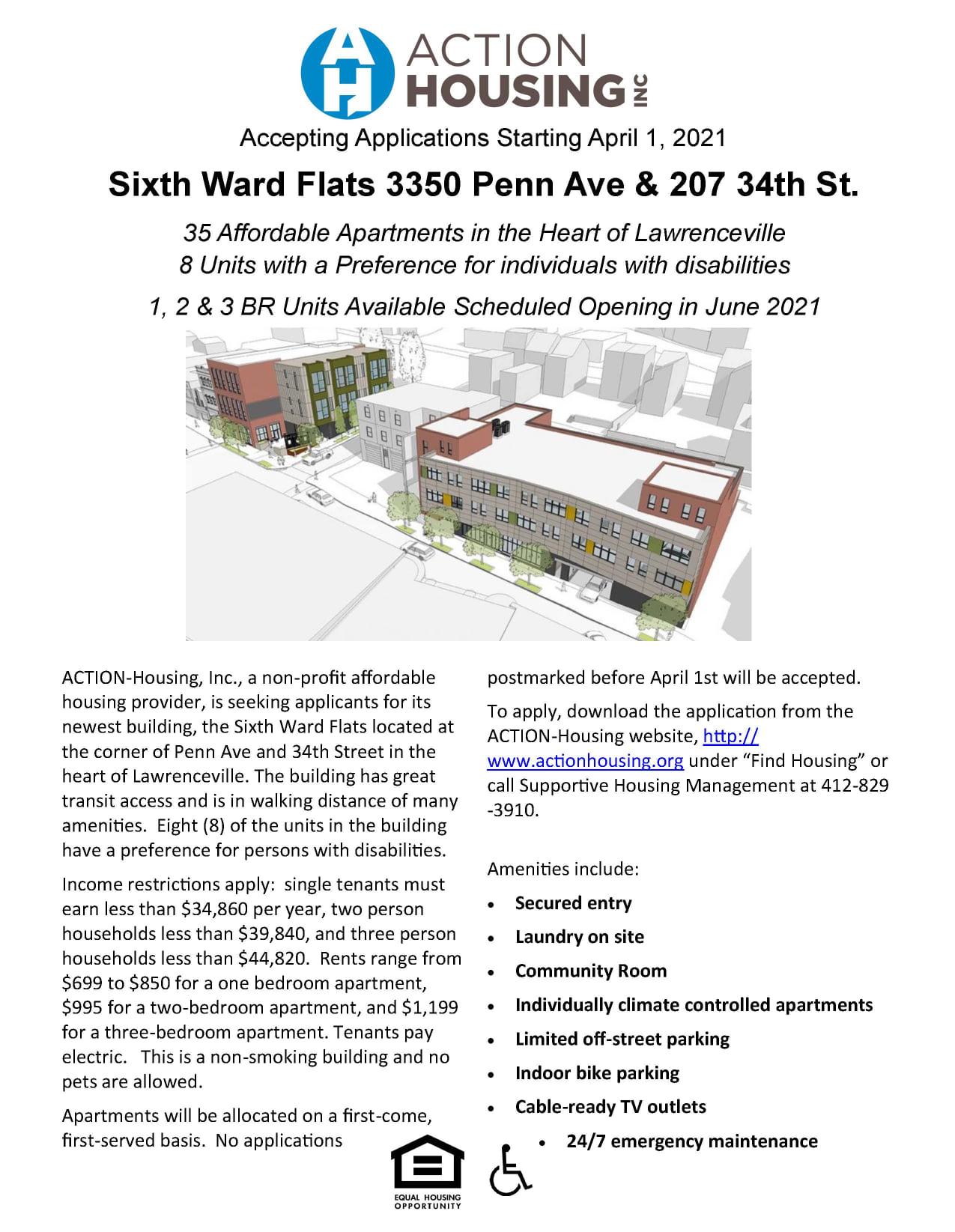 Sixth Ward Flats Housing Flyer